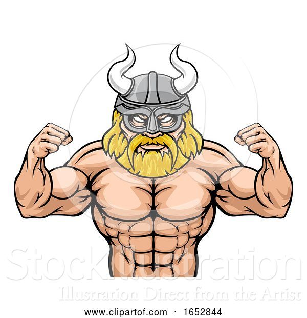 Vector Illustration of Cartoon a Viking Warrior Gladiator Sports Mascot