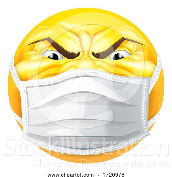 Vector Illustration of Cartoon Angry Emoticon Emoji PPE Medical Mask Face Icon