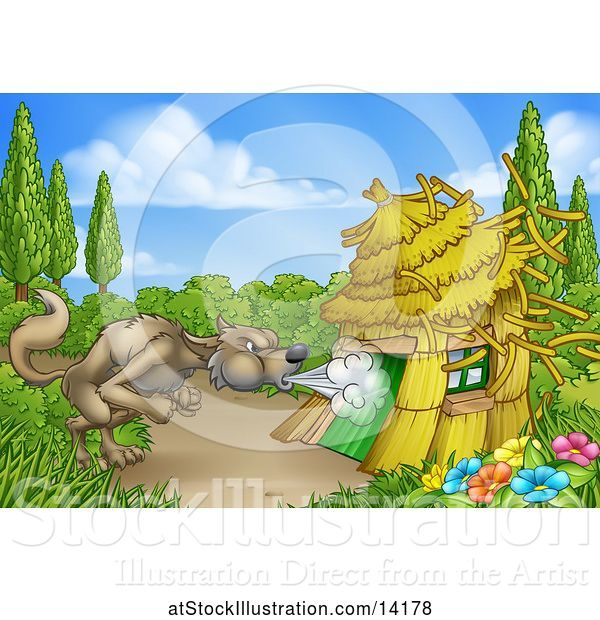 Vector Illustration of Cartoon Big Bad Wolf Blowing down a Straw House