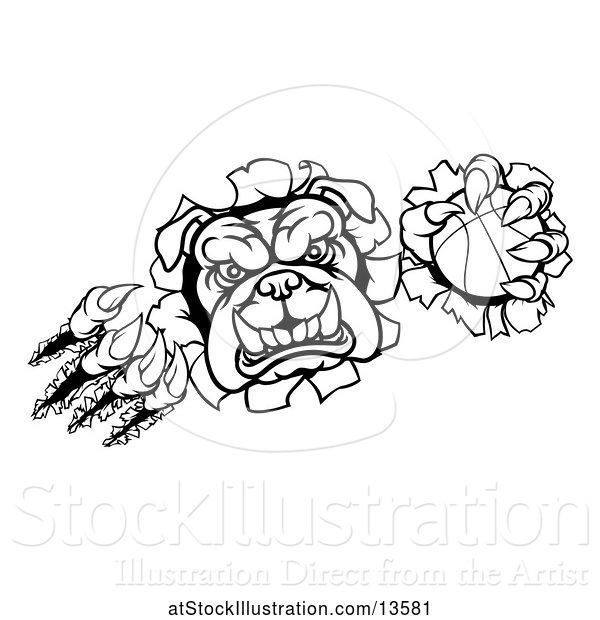 Vector Illustration of Cartoon Black and White Bulldog Monster Shredding Through a Wall with a Basketball in One Hand
