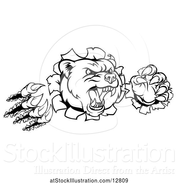 Vector Illustration of Cartoon Black and White Mad Grizzly Bear Mascot Breaking Through a Wall