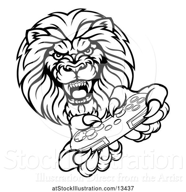 Vector Illustration of Cartoon Black and White Male Lion Holding a Video Game Controller