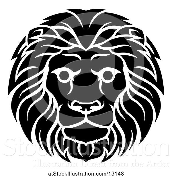 Vector Illustration of Cartoon Black and White Male Lion Leo Head