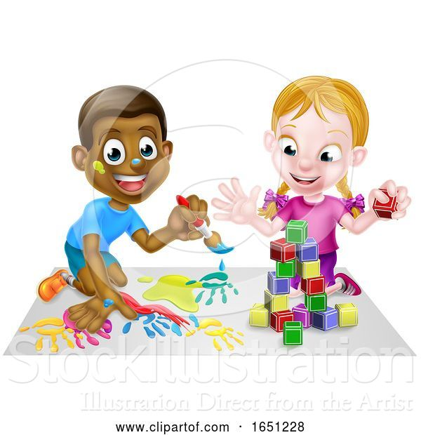 Vector Illustration of Cartoon Boy and Girl Playing with Paints and Blocks