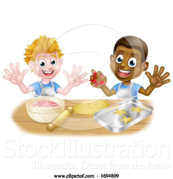 Vector Illustration of Cartoon Boy Chefs or Bakers