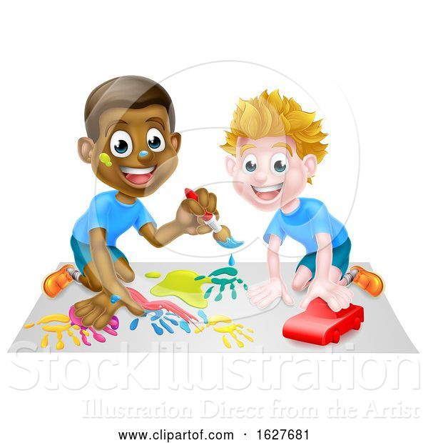 Vector Illustration of Cartoon Boys Playing