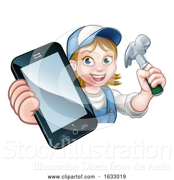 Vector Illustration of Cartoon Carpenter Handyman Phone Concept