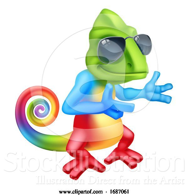 Vector Illustration of Cartoon Chameleon Cool Lizard in Shades Pointing