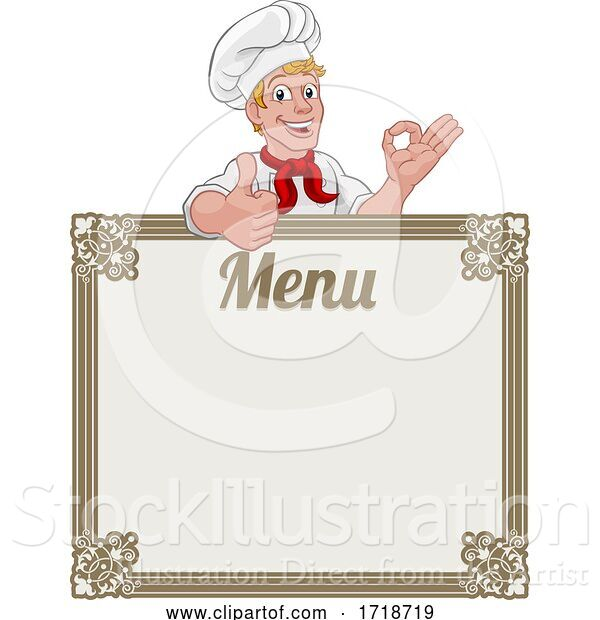 Vector Illustration of Cartoon Chef Cook Baker Guy Menu Sign Background