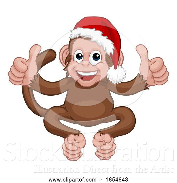 Vector Illustration of Cartoon Christmas Monkey Character in Santa Hat