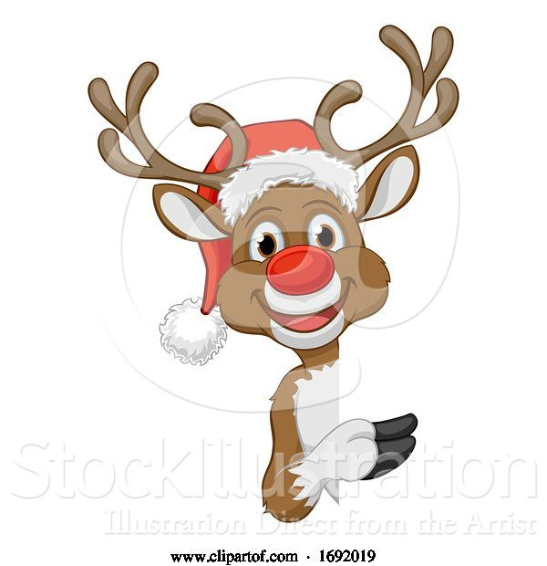 Vector Illustration of Cartoon Christmas Reindeer in Santa Hat Character