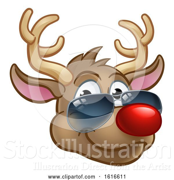 Vector Illustration of Cartoon Cool Reindeer Christmas Character Shades