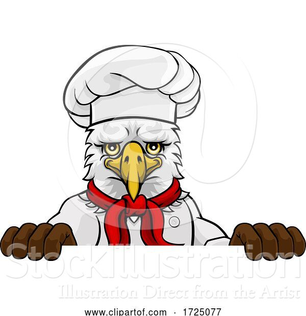 Vector Illustration of Cartoon Eagle Chef Mascot Sign Character