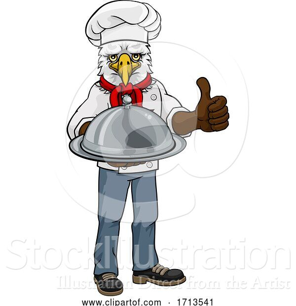 Vector Illustration of Cartoon Eagle Chef Mascot Thumbs up Character
