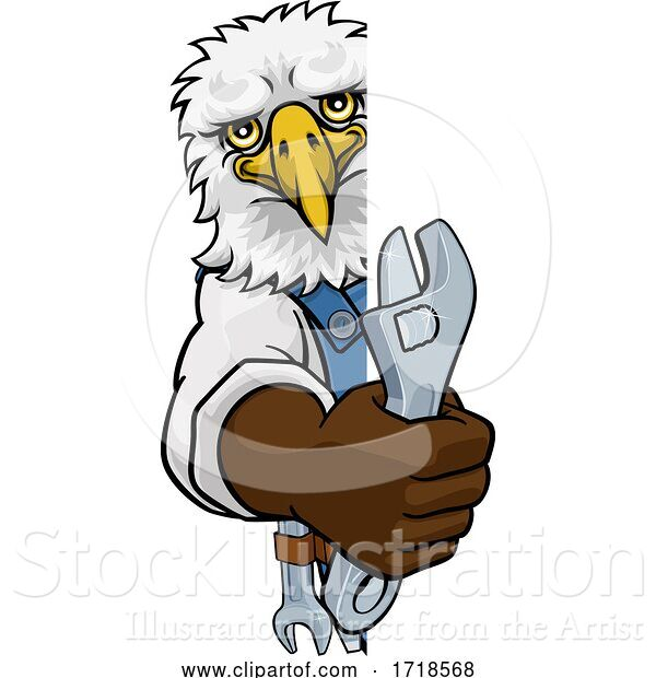 Vector Illustration of Cartoon Eagle Plumber or Mechanic Holding Spanner