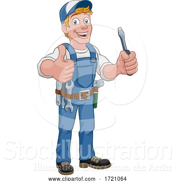 Vector Illustration of Cartoon Electrician Handyman Plumber Mechanic