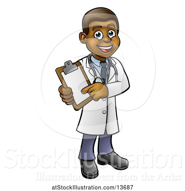 Vector Illustration of Cartoon Full Length Friendly Black Male Doctor Holding a Clipboard