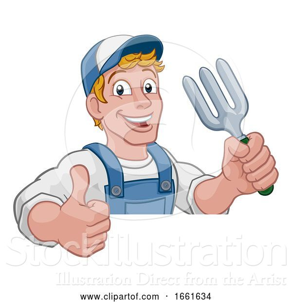 Vector Illustration of Cartoon Gardener Garden Fork Tool Handyman Guy