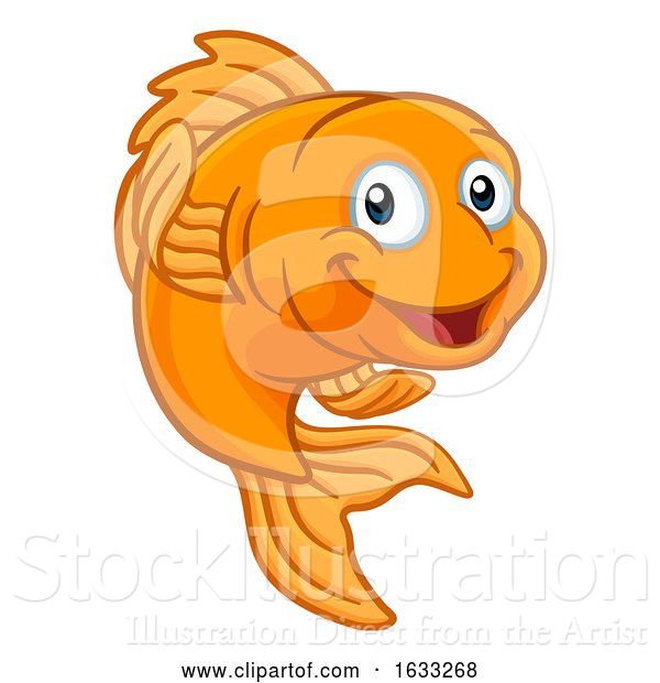 Vector Illustration of Cartoon Gold Fish or Goldfish Character