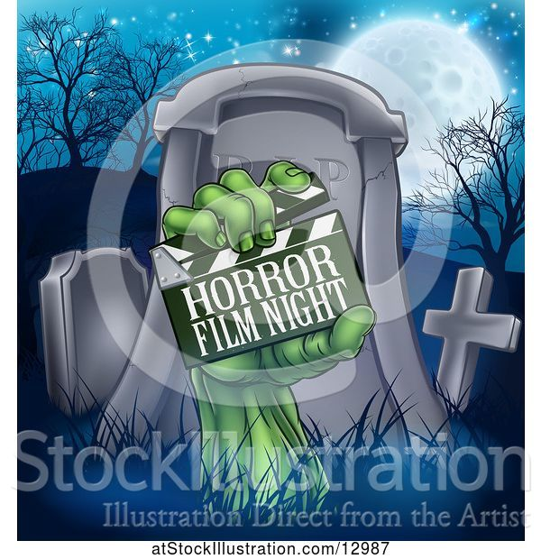 Vector Illustration of Cartoon Green Zombie Hand Holding a Horror Film Night Clapperboard in Front of a Tombstone