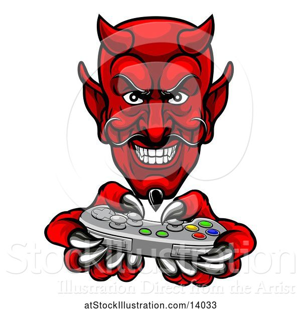 Vector Illustration of Cartoon Grinning Evil Red Devil Playing with a Video Game Controller