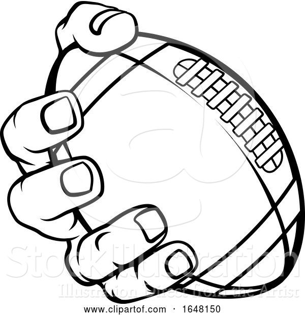 Vector Illustration of Cartoon Hand Holding American Football Ball