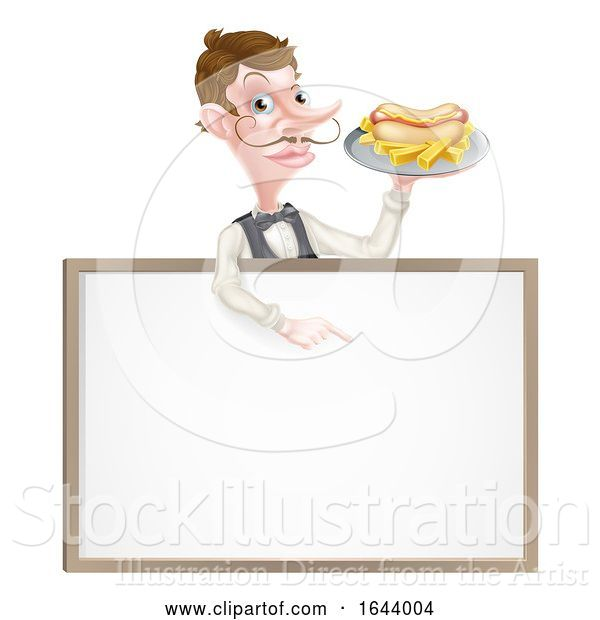 Vector Illustration of Cartoon Hotdog and Fries Waiter Sign
