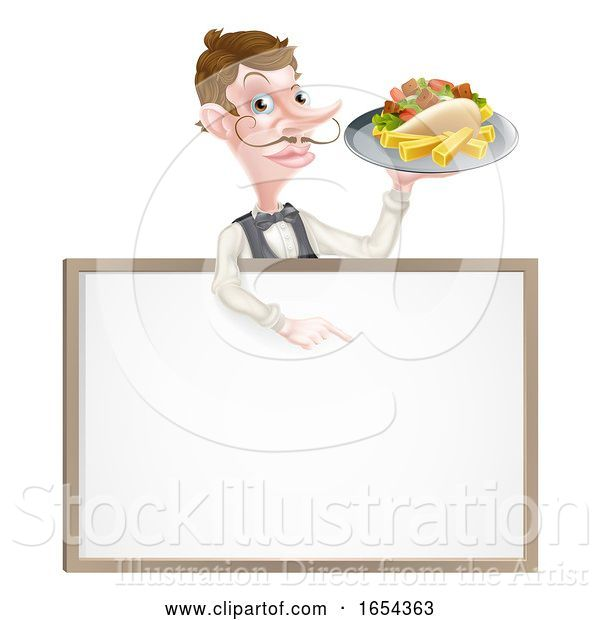 Vector Illustration of Cartoon Kebab and Chips Waiter Sign