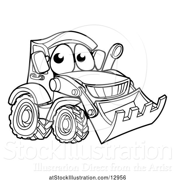 Vector Illustration of Cartoon Lineart Bulldozer Digger Mascot Character