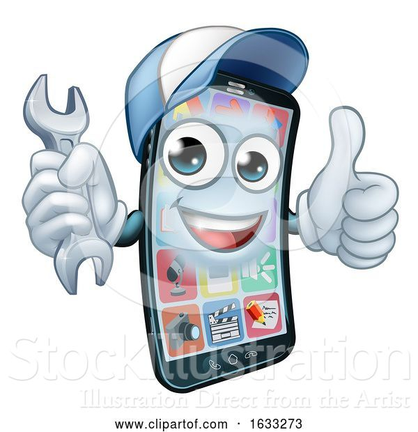 Vector Illustration of Cartoon Mobile Phone Repair Spanner Thumbs up Cartoon