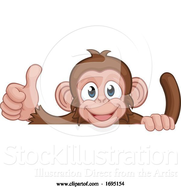 Vector Illustration of Cartoon Monkey Animal Behind Sign Giving Thumbs up