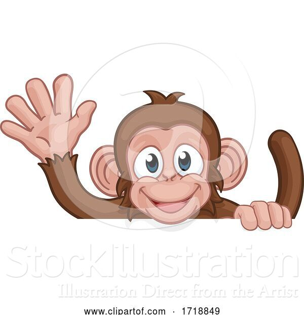 Vector Illustration of Cartoon Monkey Animal Behind Sign Waving
