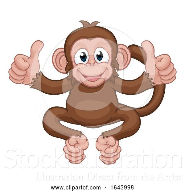 Vector Illustration of Cartoon Monkey Animal Giving Double Thumbs up