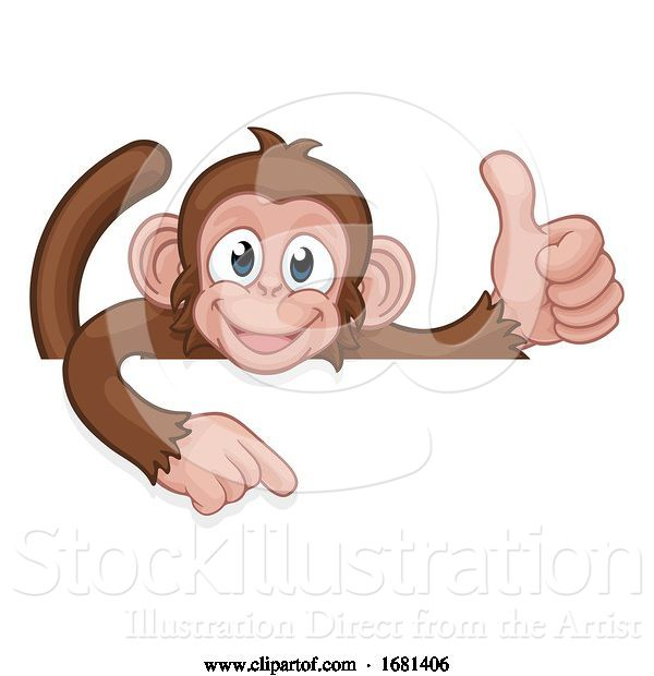 Vector Illustration of Cartoon Monkey Animal Pointing Thumbs up Sign