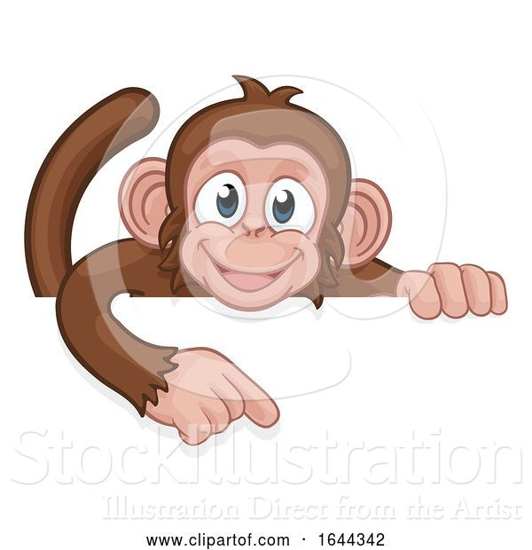 Vector Illustration of Cartoon Monkey Character Animal Pointing at Sign