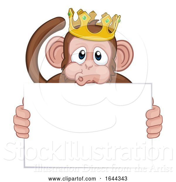 Vector Illustration of Cartoon Monkey King Crown Animal Holding Sign