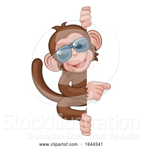Vector Illustration of Cartoon Monkey Sunglasses Animal Pointing at Sign