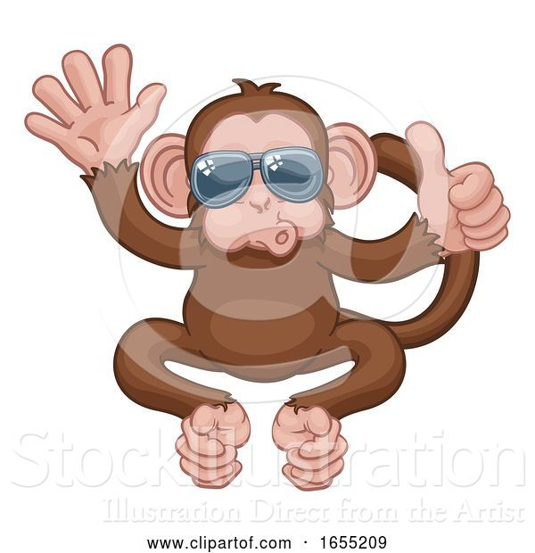 Vector Illustration of Cartoon Monkey Sunglasses Waving Thumbs up Animal