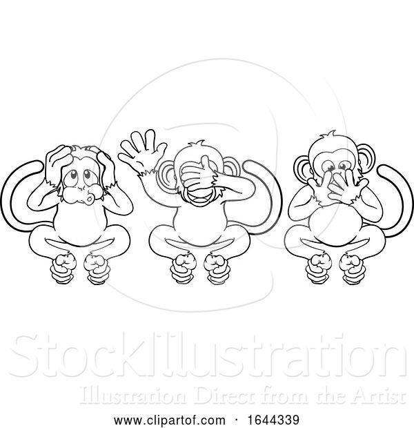 Vector Illustration of Cartoon Monkeys See Hear Speak No Evil Characters