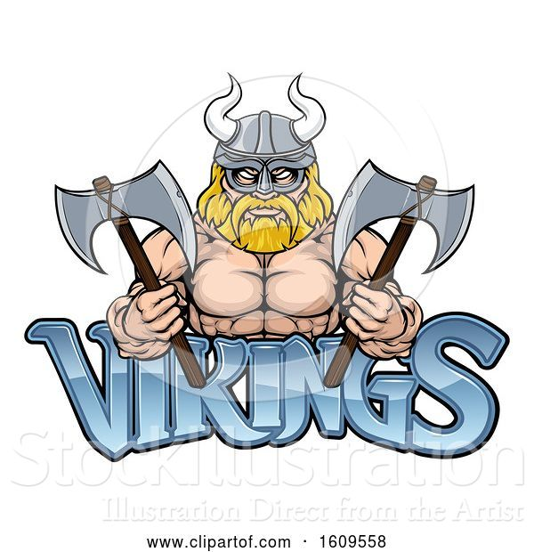 Vector Illustration of Cartoon Muscular Blond Male Viking Warrior Holding Axes over Text