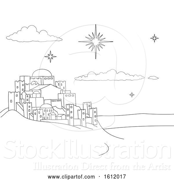 Vector Illustration of Cartoon Nativity Christmas City Scene Coloring