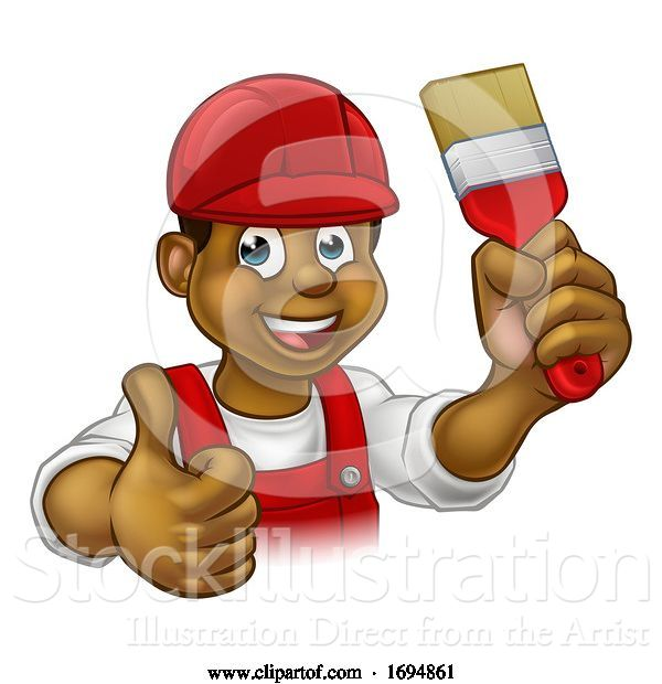 Vector Illustration of Cartoon Painter Decorator Handyman Guy