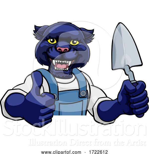 Vector Illustration of Cartoon Panther Bricklayer Builder Holding Trowel Tool