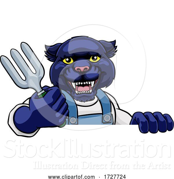 Vector Illustration of Cartoon Panther Gardener Gardening Animal Mascot