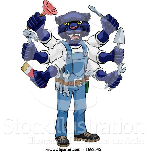 Vector Illustration of Cartoon Panther Multitasking Handyman Holding Tools