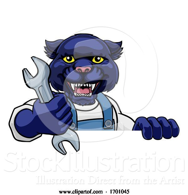 Vector Illustration of Cartoon Panther Plumber or Mechanic Holding Spanner
