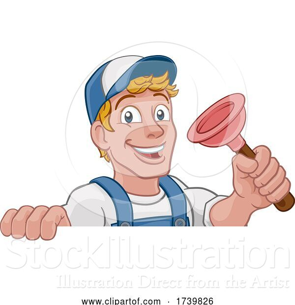 Vector Illustration of Cartoon Plumber Plumbing Drain Plunger Handyman