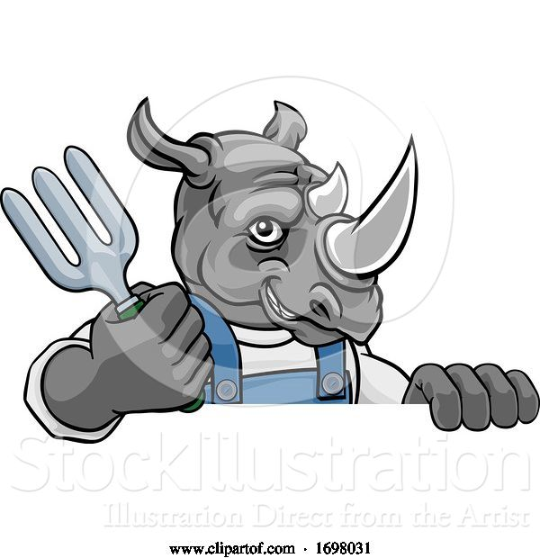 Vector Illustration of Cartoon Rhino Gardener Gardening Animal Mascot