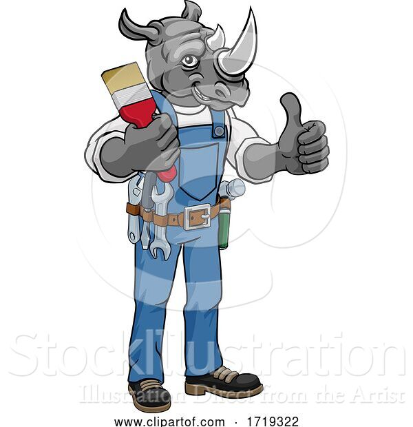 Vector Illustration of Cartoon Rhino Painter Decorator Holding Paintbrush