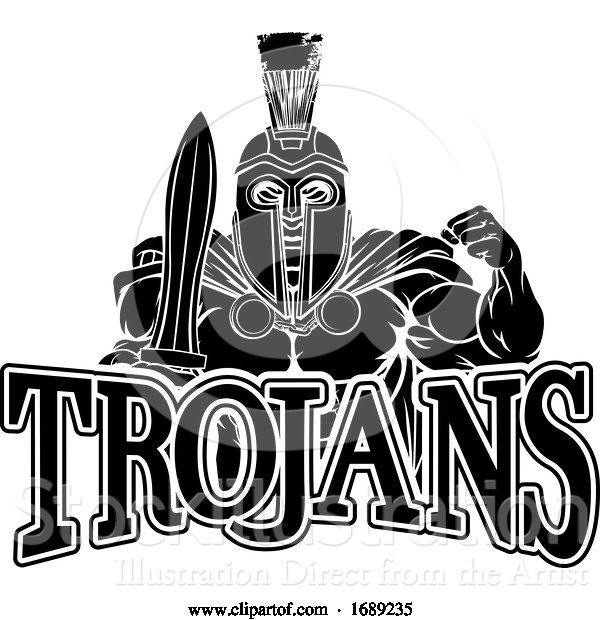 Vector Illustration of Cartoon Spartan Trojan Sports Mascot